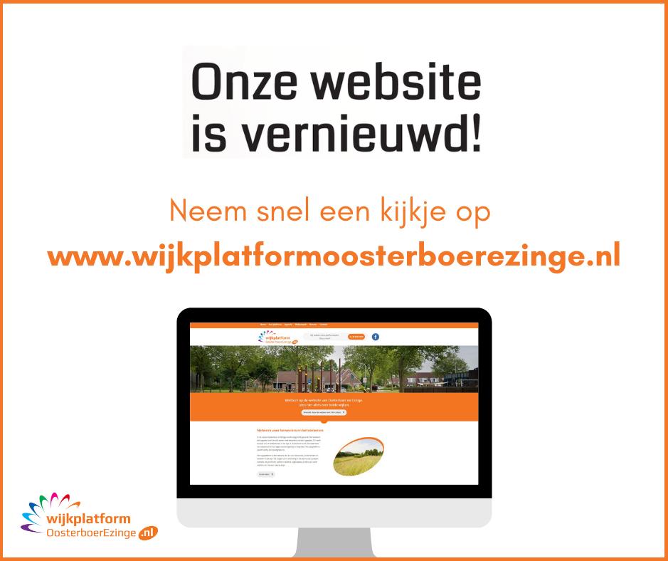 Visual met de tekst 'onze website is vernieuwd!'